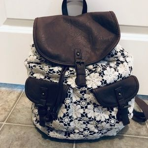 Claire's Brown/Cream/White Floral Lace Backpack
